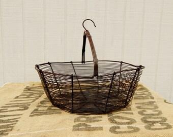 Antique Handmade Wire Basket -  Wire Industrial Basket