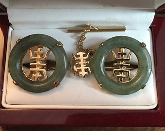 Rare Vintage 1960 Swank Arts of the World Jade Symbol Cufflink Set