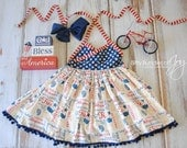"""Patriotic Dress in Red White & Blue - Fourth of July Dress - Stars Stripes Dress - Vintage Fourth of July Dress - """"Land of the Free"""""""