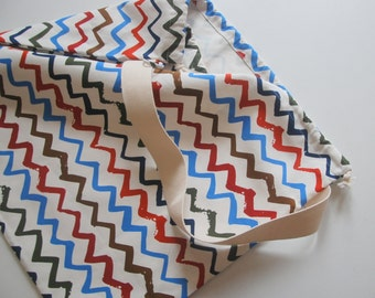 Large Laundry Bag Tote Weekender Carry All, Cotton Canvas/Chevron.