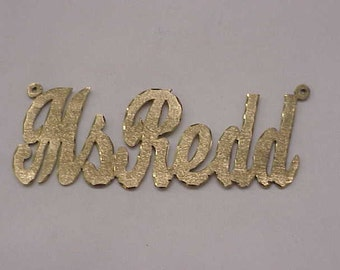 """14K SOLID YELLOW GOLD Personalized  """"Ms Redd""""Cursive Name Pendant"""