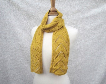 Bright Yellow Scarf, Vegan Cotton & Silk, Hand Knit, Fashion, Chevron Arrow V Lace