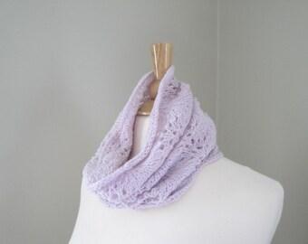 Alpaca Wool Cowl Scarf,Pale Pink, Hand Knit Lace Cowl, Women's Neck Scarf, Tube Scarf, Luxury Alpaca Wool