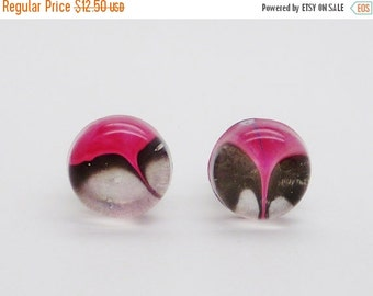 10% off entire store Pink and Black Hand Painted Ear Plugs, 00G (10mm) Ear Gauges * Handmade resin & clear UV acrylic plugs