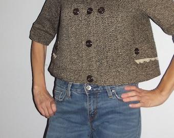Vintage    brown cropped  tweed Jacket  Women's M  S