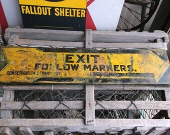 ONE Vintage Exit Sign Follow Markers Conservation Department
