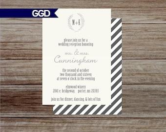 Wedding Reception Invitation, Vintage Wedding Reception Only Invitation, 2 sided invitation-Printed or Digital File