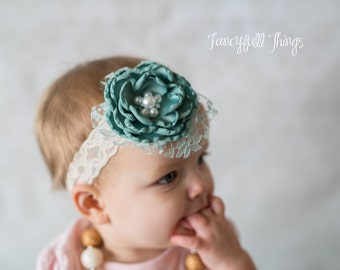 Satin pearl and lace flower headband