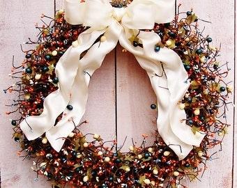 LARGE Spring Wreath, Summer Wreath, Front Door Wreath, Summer Wreath, CREAMY BLUE Horizon Berry Door Wreath, Front Door Decor, Wreaths