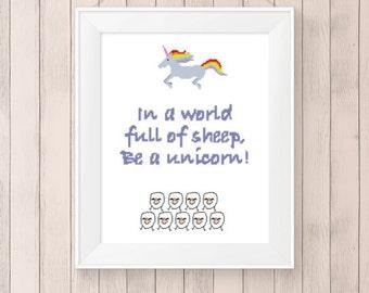 Don't be a sheep, Cross Stitch Pattern, Unicorn, DMC Threads, PDF Download