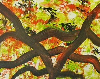 Bright and Happy Abstract Art on a Postcard P999