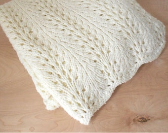 Cream Crocheted Afghan - Light Weight Blanket - Soft + Pretty Afghan - Neutral Boho Throw