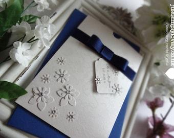 Wedding Gift or Money Wallet Vintage Ivory & Navy