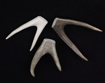 """Multipack 3-5"""" DRILLED Antler Forks Real Deer Bone Taxidermy Pendant Necklace Jewelry Beads MEDIUM"""