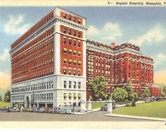 Vintage Linen Postcard....Tennessee, Memphis, Baptist Hospital, Unused .....no. 1631