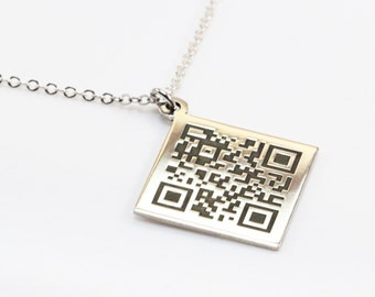 PERSONALIZED QR BARCODE Necklace, Will You Marry Me, Customizable, Engraved Jewelry, Unisex Gift, Valentines Day, Celebrity