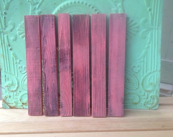 Set of Six Washed Coral Barn Wood Boards, Wood Crafting Supplies Barn Wood, Do It Yourself Wood Slats