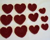 Applique Hearts, Valentine's Hearts, Heart Appliques, Supplies, Crochet Hearts, Embellishments