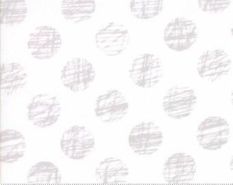 Hey Dot by Brigitte Heitland for Zen Chic & Moda - Sketched - White - Grey _ 1/2 Yard Cotton Quilt Fabric