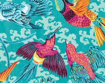 Natural World by Snow Leopard Designs for Free Spirit - Tropical Birds - Tropic - 1/2 Yard Cotton Quilt Fabric 1016