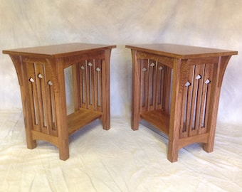 Mission End Stand   Solid Quartersawn White Oak, Corbels, Tennons, Cutouts!! Free Shipping