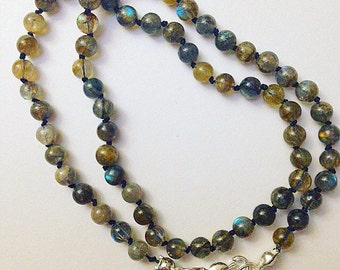 Black Silk Knotted Labradorite Necklace