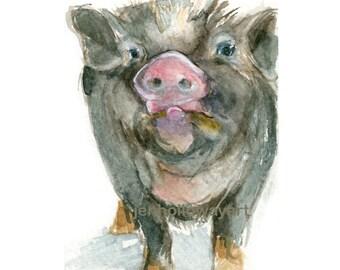 Watercolor Pig, Piglet Print, Piggy Print, Pig Art, Farm Animal Print, Farm Animal Art
