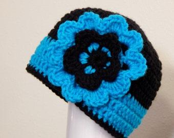 CHOOSE SIZE Toddler Aqua Blue and Black Flower Beanie Hat, Photo Prop, Winter Girl Hat, Blue Flower Hat, Blue and Black, Girls Hats