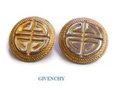 Givenchy earrings, Paris New York button logo clip, haute couture runway statement earrings, gold plated