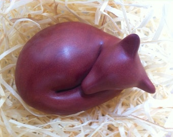 Little Sleeping Fox sculpture decoration hand made OOAK polymer clay dark chocolate brown