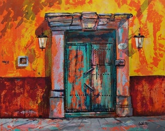 "Original  acrylic painting on canvas of a San Miguel de Allende door with street lights 34  ""x 28"" x 5"" in orange and till colors"