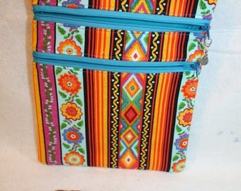 Southwest Theme Crossbody Handbag w/Adj Strap