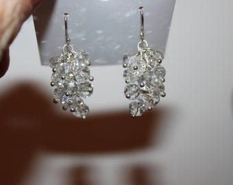 Sterling Silver Swarovski Crystal Dangle Earrings- grape bunch
