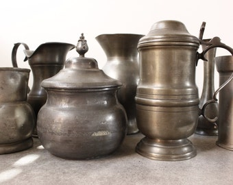 """LOT of SEVEN Pewter Jugs/Vases..Largest height 8"""" down to 5.1/2"""" Total weight of LOT 5 kilos...Bargain!"""