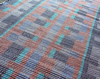 Handwoven rug in blues with turquoise and brown