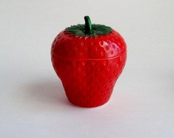 Vintage Strawberry Milk Glass Jam Jar Hazel Atlas Condiment Jar