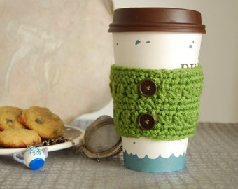 Green Coffee Cozy Crocheted with Metal Buttons, Crochet Cozies, To Go Coffee Cup Cozy, Coffee Cozies Crocheted, Coffee Cozies Crocheted