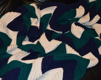 Large Crocheted Ripple Afghan in Navy, Teal & White