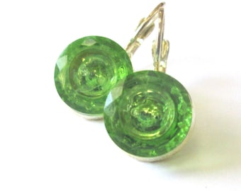 GREEN vintage button earrings, Czech glass buttons, silver lever backs