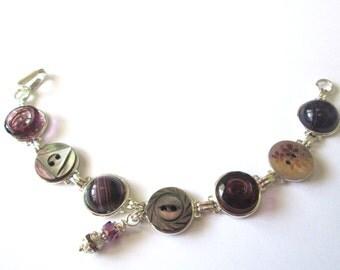 PURPLE vintage button bracelet,  silver links