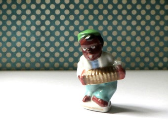 Black Americana Accordion Player Singer Figurine Occupied Japan Collectible Squeezebox Musician