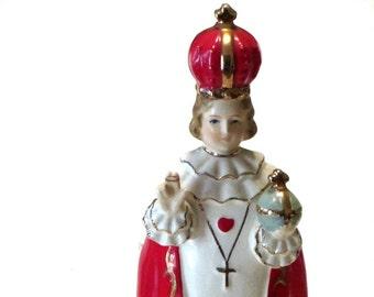 Infant of Prague Ceramic Planter Rubens Original Gold Gilt Christian Religious Figurine 1950s Japan