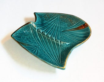 Atomic Turquoise Teal and Gold Ceramic Ashtray Large Mid Century Mad Men