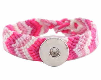 "1 Woven Bracelet - 6.5-9.5"" Adjustable Pink FITS 18MM Candy Snap Charm Jewelry Silver KC0633 Cj0566"