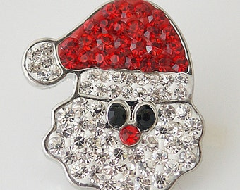 1 PC 18MM Christmas Santa Clause Rhinestone Silver Snap Candy Charm kb4403 CC1211