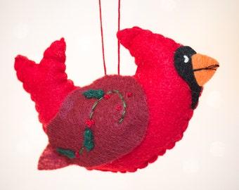 Felt Cardinal Ornament - Bird Ornament