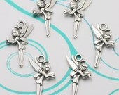 8 Fairy Charms, Antique Silver Tone 25 x 11 mm Double Sided U.S Seller - ts993