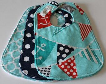 Baby Bibs, Aqua Navy Red and White baby Bibs, Set of 3 baby/toddler bibs