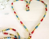 Vintage Mercury Glass Garland, Double Beads Multicolored , 8 ft.