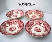 Tonquin Red Transferware Sauce Bowls England Set of 4 by Clarice Cliff